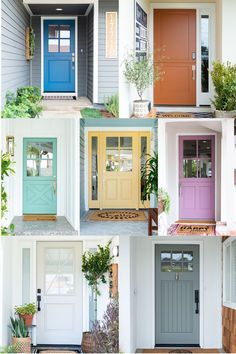 I'm all about the big curb appeal with it comes to the outside of a home! Read to see my ultimate 7 favorite front door paint colors! Best Front Door Colors, Best Front Doors, Front Door Paint Colors, Painted Front Doors, Front Door Design, Paint Colors For Home, Exterior Door Colors, White Exterior Houses, House Front Door