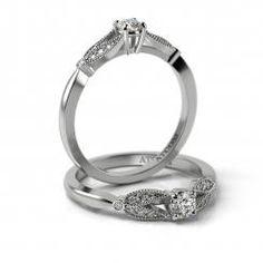Inel de logodna aur alb 14k Chatedral ornat cu diamante sau cristale de zirconiu