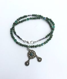 Dark Green Necklace with a Vintage Silver Pendant, Green Aventurine Necklace, Natural Gemstone Beads and Fire Polished Glass