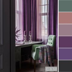 I just like the throw blanket Bedroom Color Schemes, Bedroom Colors, Colour Schemes, Bedroom Decor, Purple Color Palettes, Colour Pallete, House Colors, Colorful Interiors, Color Inspiration