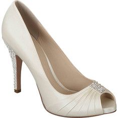 This elegant evening shoe features a pleated peep toe with a rhinestone accent and  rhinestone studded stiletto heel.