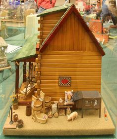 Love the look of this cabin with the rabbit hutch and chicken coop Woodworking Guide, Custom Woodworking, Woodworking Projects Plans, Teds Woodworking, Cabin Dollhouse, Dollhouse Miniatures, Dollhouse Ideas, Rabbit, Doll Houses