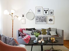 Love this gallery wall. Definitely putting a mirror in ours.