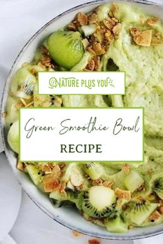 Here at Nature Plus You we LOVE a good green smoothie aesthetic. Green moothie bowl recipes are a staple for us because they've got SO many benefits like weight loss & fat burning! Recipe: 🌱 1 cup frozen mango 🌱 1 cup frozen pineapple 🌱 1 scoop collagen 🌱 1 scoop Super Greens Powder from Nature Plus You 🌱 1/4 cup of almond milk Toppings: 🌱 1 kiwi 🌱 Granola Save this pin and give it a try!