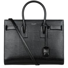 Saint Laurent Small Sac De Jour Lizard Embossed Bag (£1,855) ❤ liked on Polyvore featuring bags, handbags, leather bags, genuine leather purse, real leather purses, real leather handbags and yves saint laurent handbags