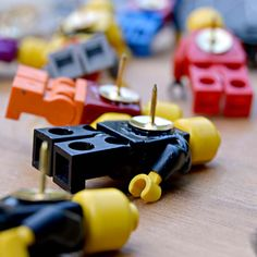 Lego Figure Push Pins.  Make some fun push pins for your notice board out of old lego figures