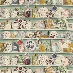 The Dresser Wallpaper by Sanderson. A wide width wallpaper designed by Emma Bridgewater. Printed with a design inspired by her own personal farmhouse kitchen dresser, stacked with crockery, knickknacks and pottery in multicolours on duck egg. Wallpaper Stencil, Wallpaper Dresser, Quirky Wallpaper, Bathroom Wallpaper, Emma Bridgewater Pottery, Sanderson Fabric, Kitchen Dresser, Shops, Delena