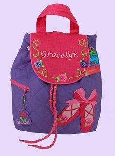 Personalized Stephen Joseph Backpack BALLET SHOES-DANCE Style With In Green and Blue-Monogramming Included