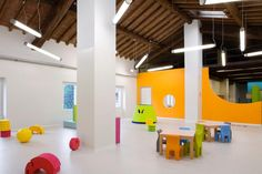Massimo Adiansi Nursery uses an old farmhouse structure in which to house it's new Reggio centre. Here is the play room.