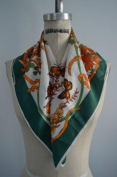 Elegant Scarf Humminbird / Butterflies/ Garden & Garland Print Handkerchief.