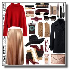 """Red and Gold Outfit with ROMWE"" by metropulse ❤ liked on Polyvore featuring Miss Selfridge, Laurence Dacade, Rebecca Minkoff, Giorgio Armani, Lands' End, San Diego Hat Co., Burberry, Marc Jacobs, Rosantica and Vanessa Mooney"
