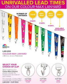 Colour-Max Lanyard LAN-200 | LAN-300Full Colour Print on both sides.Branding Machine Setup AppliesUnrivalled lead times on our Colour-Max Lanyard Make a statement in bold, vivid colour at conferences and events with the Colour-Max Lanyard. This lanyard includes full dye-sublimation on both sides. Choose from one of three attachments: Lobster Claw, Snap Hook or Bulldog Clip.90 (l) X 2 (w)Branding OptionsSublimation (SUB)No minimum quantities apply to the inclusive of branding promotion but… Branded Lanyards, Both Sides, Brand Promotion, Of Brand, Lead Time, How To Apply, How To Make, Vivid Colors, Branding