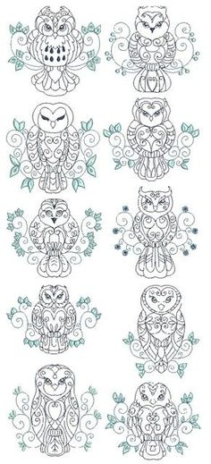 owls from Embroidery Pass book with would be an awesome tattoo
