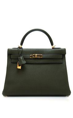 Hermes 32Cm Vert Olive Clemence Leather Retourne Kelly