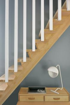 Slatted oak stairs and balustrade, oak handrail, recessed LED light, grey Farrow and Ball interior. Oak Stairs, Wooden Stairs, House Stairs, Oak Handrail, Iron Stair Railing, Stair Moulding, Corner Shelf Design, Stairs To Heaven, Loft Staircase