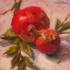"""""""Pomegranates"""" - Original Fine Art for Sale - © Karen Werner"""