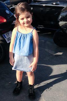 #MissKaira wearing #Chloe #denim dress #kidstyling #kidsfashion #kidblogger