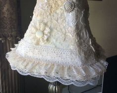 Shabby Chic Elegant Lace Lamp Shade Victorian Inspired Decoration