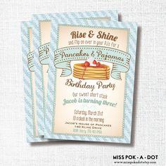 Pancakes and Pajamas blue stripe Birthday party invitation - Rise and Shine pancake birthday - Boy Pancakes and PJs