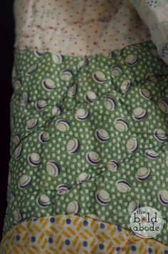 Green and Blue Polka Dot Vintage Fabric