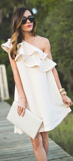 Asos White Ruffle One Shoulder Dress by Sequins & Things