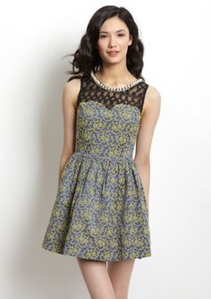 GRACIA Brocade Sweetheart Dress with Lace. I love the details.