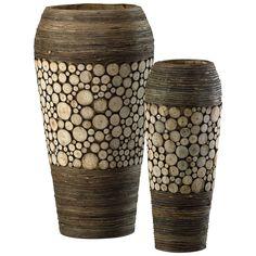 Wood Slice Oblong Vases in Birchwood and Walnut, Set of 2