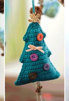 The finest crocheted Christmas ornaments - creative July to July - Femina Crochet Christmas Decorations, Christmas Tree Pattern, Crochet Christmas Ornaments, Christmas Crochet Patterns, Holiday Crochet, Noel Christmas, Christmas Knitting, Handmade Christmas, Knit Or Crochet