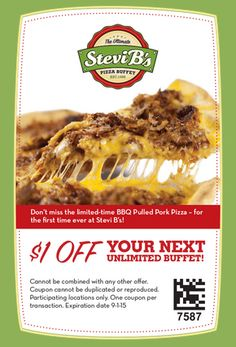 STEVI B's $$ Coupon to Save $1 off Your Next Unlimited Buffet!