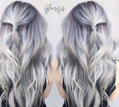 Granny Silver/ Grey Hair Color Ideas: Balayage Violet Silver Hair