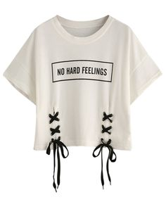 c82b65cf00187 White Letter Print Lace Up Detail Short Sleeve Cropped T-shirt Girls Crop  Tops