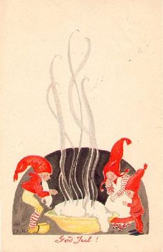 Julkort från 1923. In Scandinavian folklore, nisse—household sprites— are responsible for the protection of homes. All they ask in return is respect and a bowl of porridge on Christmas Eve.