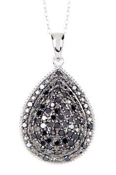 Two-Tone Pave Black Diamond Pear Pendant Necklace - 1.00 ctw