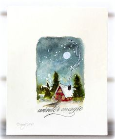 My card for the OLC at Less is More´s blog! STARS I decided to create a starry sky for the cute cottage from Penny Black! Christmas CottageFull of Merriment Thanks