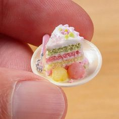 """so-many-minis:  Slice of cake with sorbet - a """"freebie"""" I added to a custom order :) www.parisminiatures.etsy.com by Paris Miniatures on Flickr."""