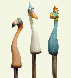 Zaunhocker Vögel Exotic Zaundeko Tiere Poly (916299) NEU Gartenfigur
