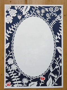 Customisable Papercut Template - Decorative Pattern Floral border design. COMMERCIAL USE by PerfectlyPapercuts on Etsy