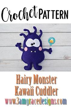 How To Crochet A Hairy Monster Amigurumi Cuddler Pillow With Rosy Kawaii Cheeks And Smile! Our Hairy Monster Crochet Pattern Works Up Quickly! Easy Crochet Patterns, Crochet Patterns Amigurumi, Crochet Yarn, Crochet Toys, Free Crochet, Crochet Pillow, Crochet Ideas, Crochet Monsters, Crochet Animals