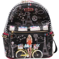 Nicole Lee Pascale Fashion Backpack - Spring Ride - Backpack Handbags ($61) ❤ liked on Polyvore featuring bags, backpacks, black, travel backpack, backpack travel bag, travel daypack, studded backpack and travel bag