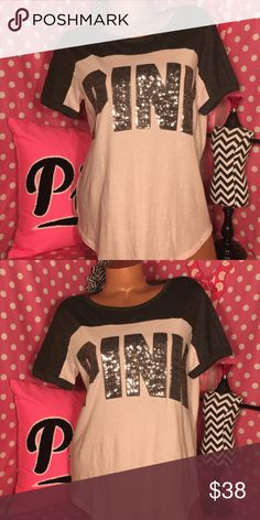 VS Pink bling tshirt Victoria's Secret pink short sleeve T-shirt pastel baby pink colorblock with dark gray silver sequin graphics New in stores just purchased today! PINK Victoria's Secret Tops Tees - Short Sleeve