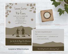 Stand Up Paddle Board Wedding Invites, Mountain Wedding Invites | Wild Blue Weddings