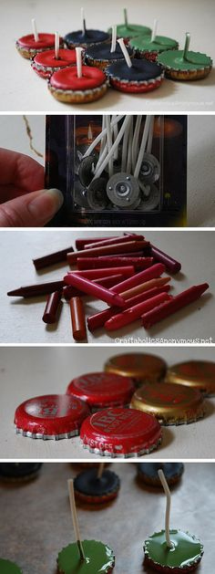 Check out the tutorial: DIY Bottle Cap Candles #DIY #crafts
