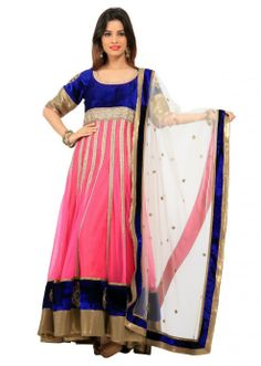 Pink anarkali suit with antique embroidery by Kalki