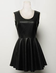 Stylish Scoop Neck Sleeveless Black PU Leather Dress For Women