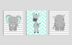 Zoo Nursery Decor, Elephant Nursery Art, Grey and Mint, Aqua and Gray, Baby Nursery Decor, Baby Room Decor, Elephant Giraffe Hippo, Chevron by SweetPeaNurseryArt on Etsy