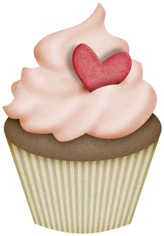 """Photo from album """"My Valentine"""" on Yandex. Micro Creche, Cupcake Illustration, Dj Inkers, Decoupage, Food Stickers, Cupcake Art, Love Cupcakes, Party Cakes, Clipart"""
