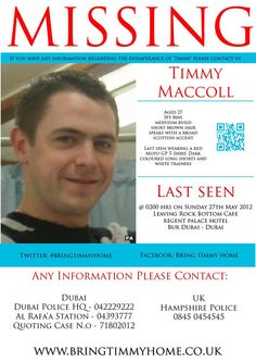 Missing British sailor in Dubai, Timmy Maccoll has been missing since May. He is a much loved husband, father and friend and missed by many who love him dearly. We are always praying for your safe and swift return to your loved ones. <3
