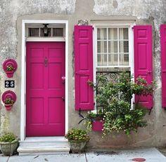 fushia door & window blinds <3