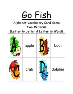 Fern Smith's Go Fish Alphabet Games - Big Letter to Little Letter & Letter to Word  This Go Fish Game focuses on the alphabet, with two different versions.  1. Big Letter to Little Letter {Letter Recognition}  2. Letter to Word {Basic Vocabulary Recognition}