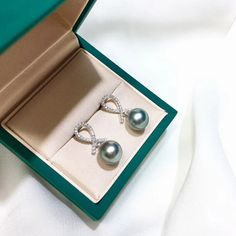 9-10 mm Black Tahitian Pearl Earrings, 18k White Gold w/ Diamond - AAAA Tahitian Pearl Earrings, Tahitian Black Pearls, Platinum Grey, Golden South Sea Pearls, Pearl Pendant, Pearl Jewelry, 9 And 10, Natural Diamonds, White Gold